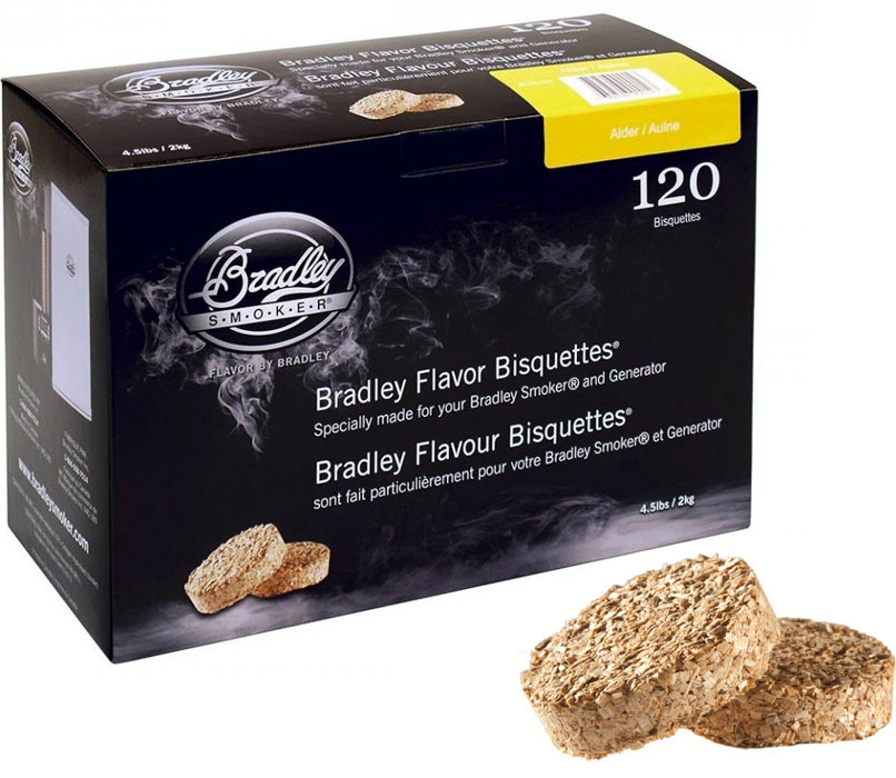 Boîtes de 120 bisquettes Aulne packaging Bradley Smoker