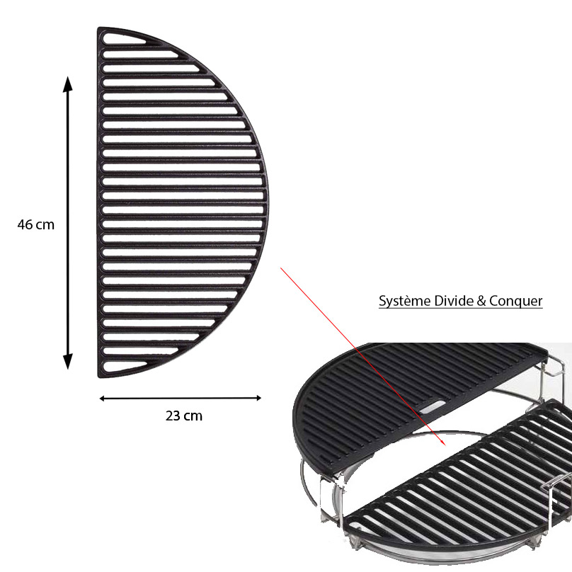 Grille en fonte demi lune pour barbecue Classic Joe Systeme Divide and Conquer