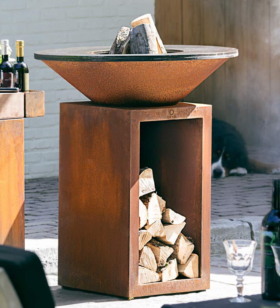 brasero corten ofyr storage rangement bois
