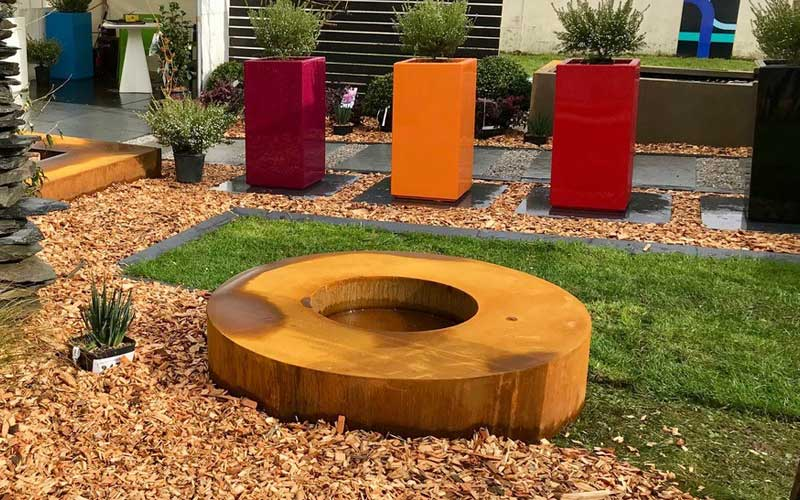 brasero corten table de feu ronde